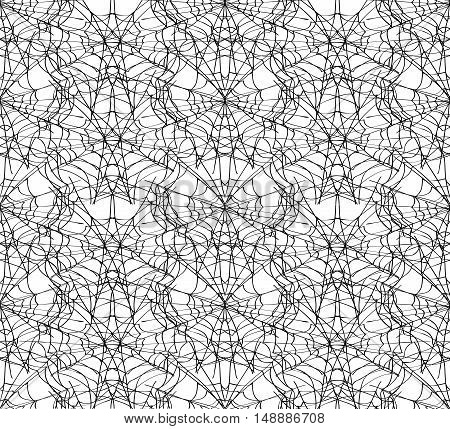 Spiderweb white seamless pattern. Monochrome vector illustration. EPS8