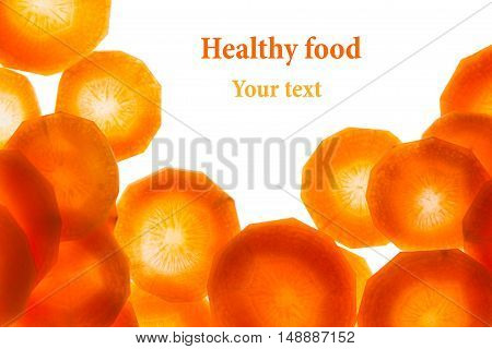 Fresh slices carrot isolated on white background. Isolated. Decorative food background.