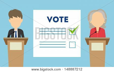 Debates on election. Two speaker on tribunes. Vote paper. Concept of voting, ellection and balloting. Election campaign.