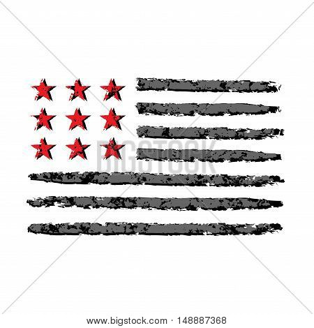 American flag grunge symbol for 4th July Independence Day celebration. Patriotic Typography Graphics. National design. Fashion Print for sportswear apparel t shirt card banner Vector illustration