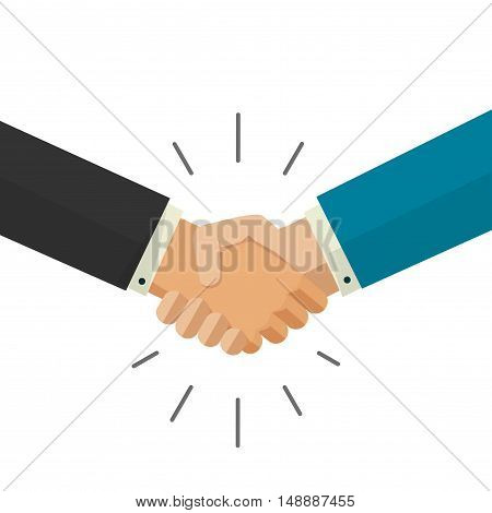 Shaking hands business vector illustration isolated on white background, symbol of success deal, happy partnership, greeting shake, handshaking agreement flat sign design