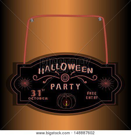 Vector illustration of logo black plate for Halloween