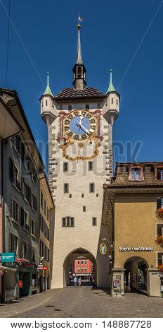 BADEN,SWITZERLAND - AUGUST 26,2016 - City Clock tower in Baden. Baden is located in Aargau canton on the left bank of the river Limmat.