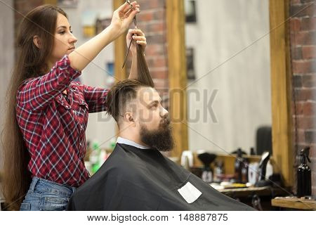 Male Client Visiting Barbershop