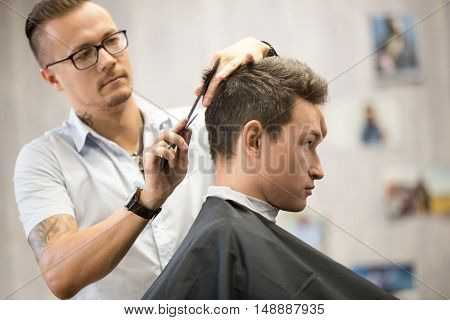 Profile View Portrait Of Attractive Young Man Getting Haircut