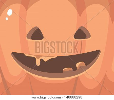 Vector Halloween Illustration Of Close Up Decorative Orange Face Of Pumpkins With Eyes, Smile, Teeth