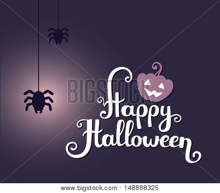 Vector Halloween Illustration With  Text Happy Halloween, Glowing Pumpkin And Spiders On Dark Backgr