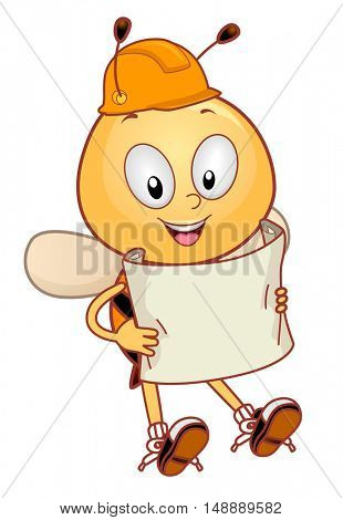 Animal Mascot Illustration Featuring a Honeybee in a Hard Hat Reading a Blue Print