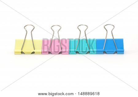 color paper clip isolated on white background