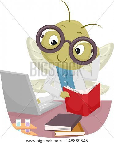 Animal Mascot Illustration Featuring a Cricket in a Lab Coat Reading a Book While Browsing the Internet