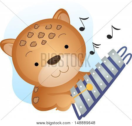 Animal Mascot Illustration Featuring a Cheetah Playing with a Xylophone