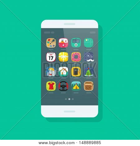 Smartphone vector isolated on green background, mobile phone with app icon on screen, modern cellular smart phone device flat cartoon style