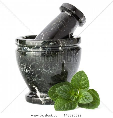 Marble stone mortar and pestle isolated on white background cutout