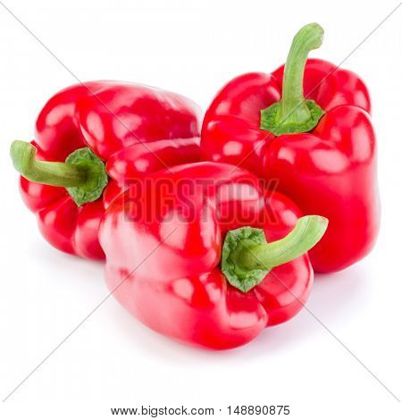 three sweet bell peppers isolated on white background cutout