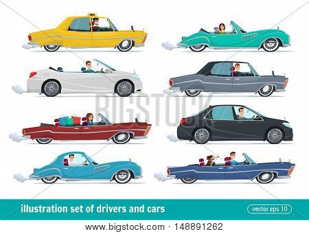 Taxi drivers car set Drivers Car Vector creative illustrations flat design. People Man and Women.