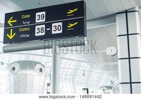 Modern Airport Departure Lounge Area - Gate pointers