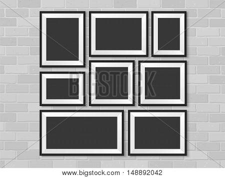 Frames Photo Gallery Mock Up Brick Wall Vector Black Abstract