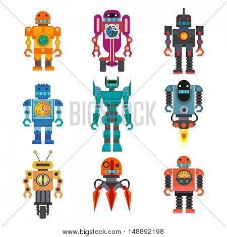 Set of cartoon robots. Machine technology, intelligence artificial cyborg, science robotic characters. Vector toys illustration isolated on white background.