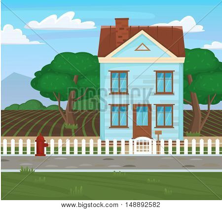 Field And House And Tree Agriculture Cartoon Concept. Countryside Home Rural Landscape With Fields.