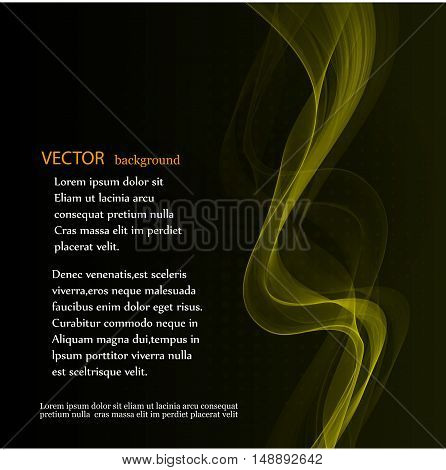 Yellow abstract waves on black background Abstract backgraund