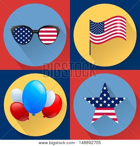 Set of patriotic vectors dedicated to the Fourth of july. Independence day USA. Flag glasses ballons and star. Stock image.