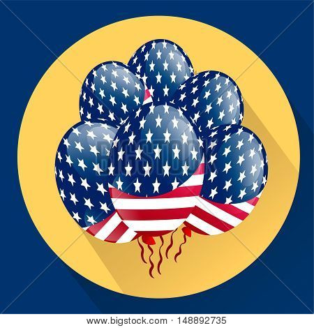 USA Patriotic balloons colored specially for the Fourth of July. Country National Colors. Independence day. Flat vector