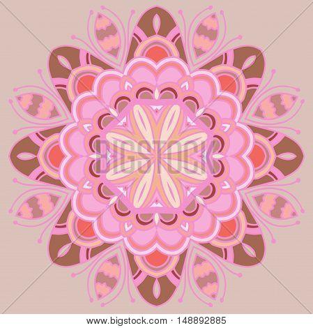 High quality original illustration of colored mandala for meditation
