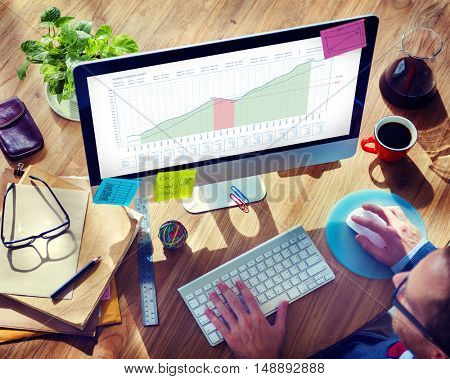 Business Graph Measurements Data Presentation Concept