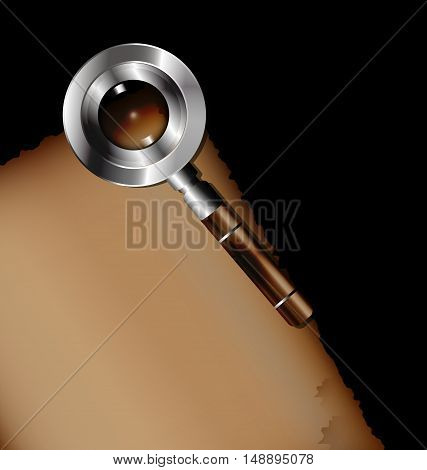 dark background, sheet of old paper and retro magnifying glass