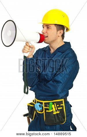 Workman Shouting In Megaphone