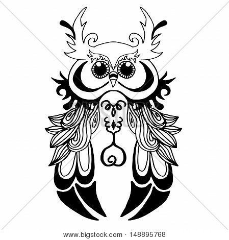 Very High quality original owl or filin for coloring or tattoo