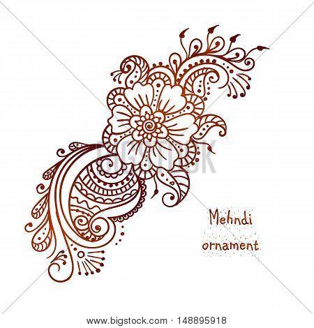 Vector ethnic mehndi pattern. Template for mehndi ornament. Hand drawn detailed outline pattern. Ornamental flowers.