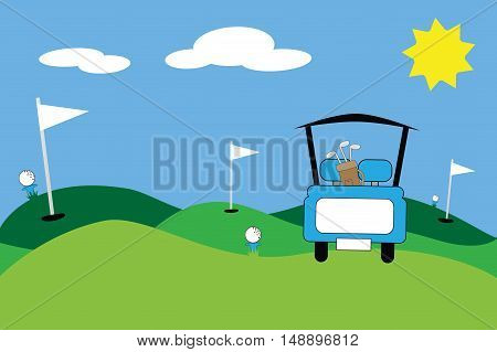 Blue Golf Cart Scene with Clubs and Cart