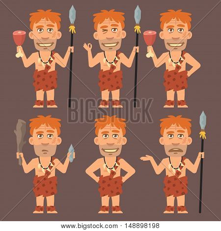 Vector Illustration, Neanderthal Holds Meat and Weapons, Format EPS 8