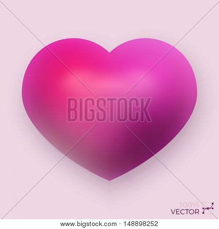 Vector Dimensional Pink Shaded Heart Symbol Illustration