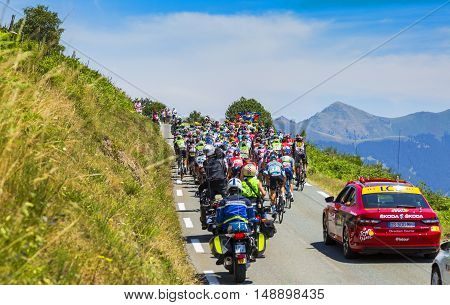 Col D'AspinFrance- July 15 2015: The peloton climbing the road to Col D'Aspin in Pyrenees Mountains during the stage 11 of Le Tour de France 2015.