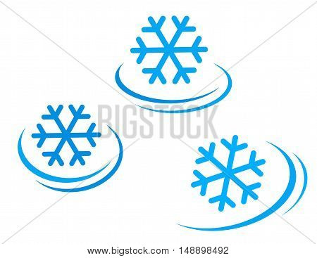 set of snowflake icons with decorative line