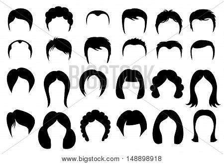 Female and male hair vector hairstyle silhouette icons style. Set of fashion haircuts illustration