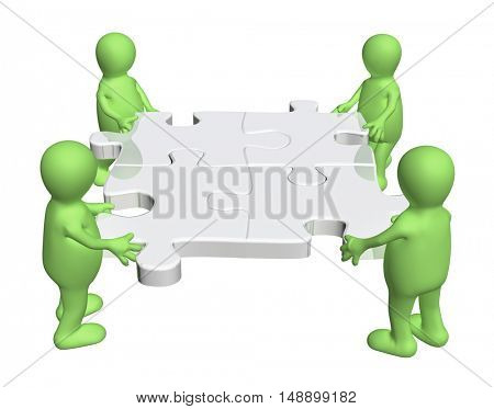 Success of teamwork. Four green puppets with multi-colored puzzles. Isolated on white background. 3d render