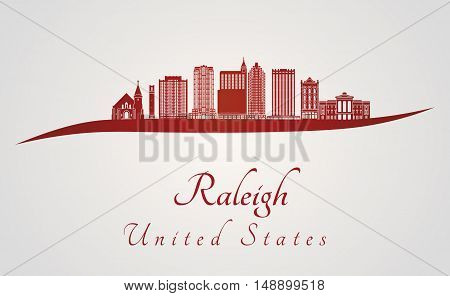 Raleigh skyline in red and gray background in editable vector file
