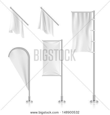White blank flags, banners, advertising beach teardrop bow flags vector collection. Frame from canvas for advertisement and promotion illustration