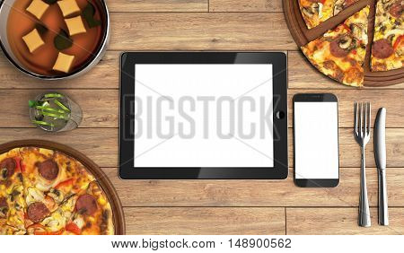 Concept Of Online Food Ordering, Food Delivery, The Food Is Close To The Tablet And Phone On A Woode