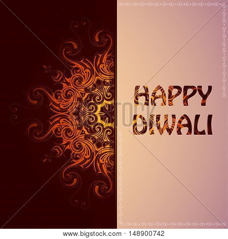 Elegant card for Indian festival Diwali with greetings
