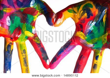 Two Colorful Hands Forming A Heart