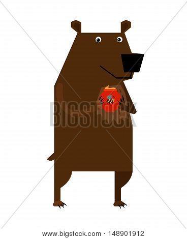 Big brown bear cartoon type holding honey