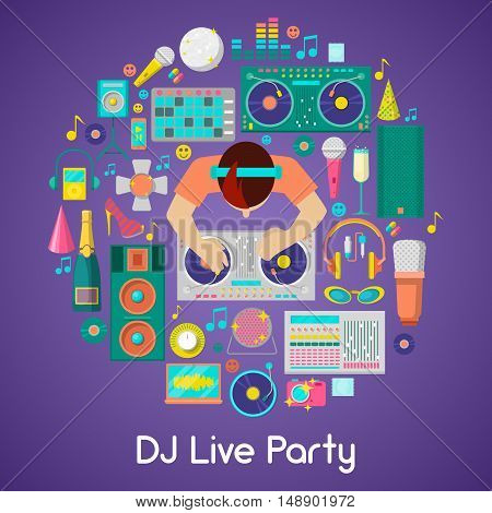 DJ Music Party Vector Icons Set with Musical Instruments