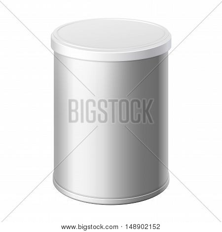 metal can with a lid. Packing for coffee or loose products. Bank for sugar salt pepper and spices. Template For Mock up Your Design. vector illustration.