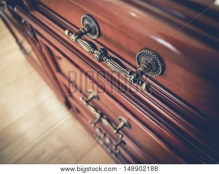Handle on wooden Drawer Vintage style object details