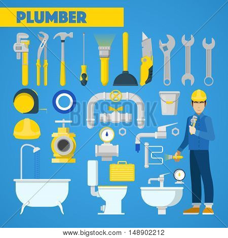 Plumber Worker with Tools Set and Bathroom Elements. Vector Icons