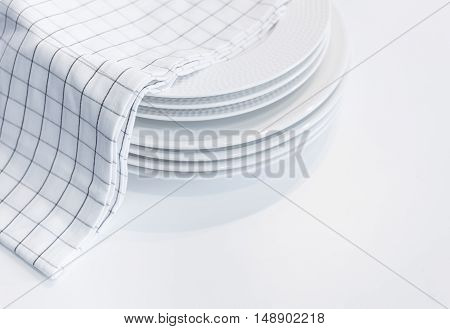 White plates with Hand towel Home Kitchen Background